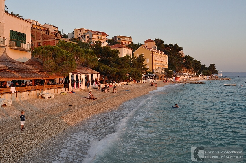 Beautiful beach of Podgora with pebbles