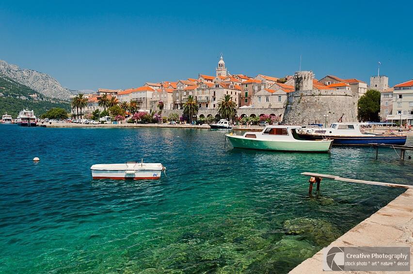 Cityscape of Korcula on the island Korcula in Croatia