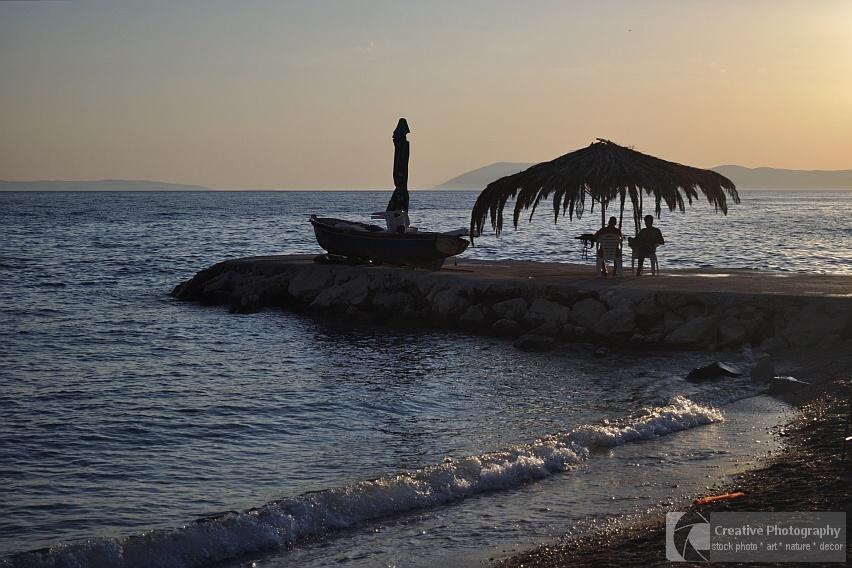 Evening on the beach of Podgora in Croatia