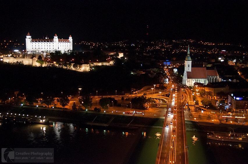 Night cityscape of Bratislava in Slovakia