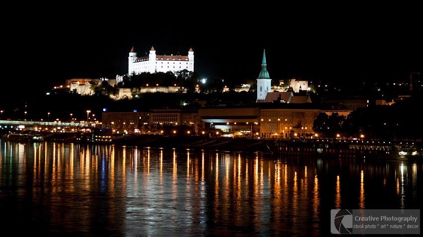 Night scene of Bratislava with the castle in Slovakia