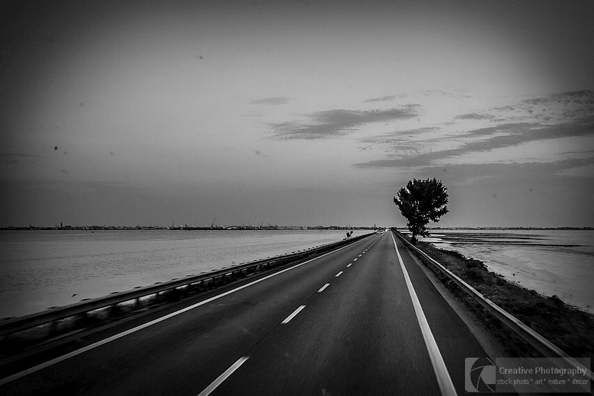 Road to Chioggia in Italy. Black and white photo