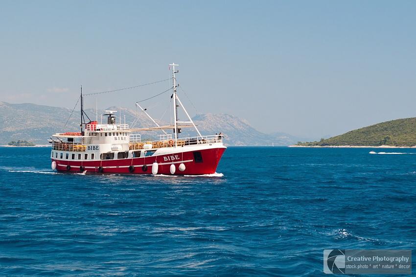 Red ship 'Bibe' on the adriatic sea in Croatia