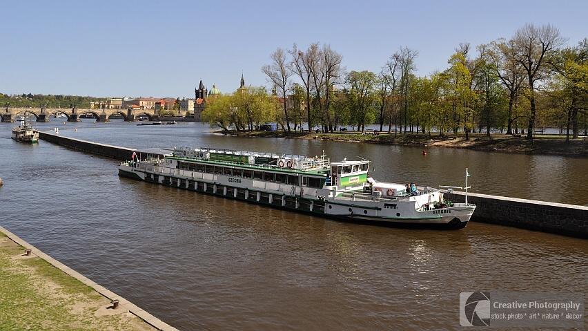 Ships in Vltava river, Prague, Czech Republic