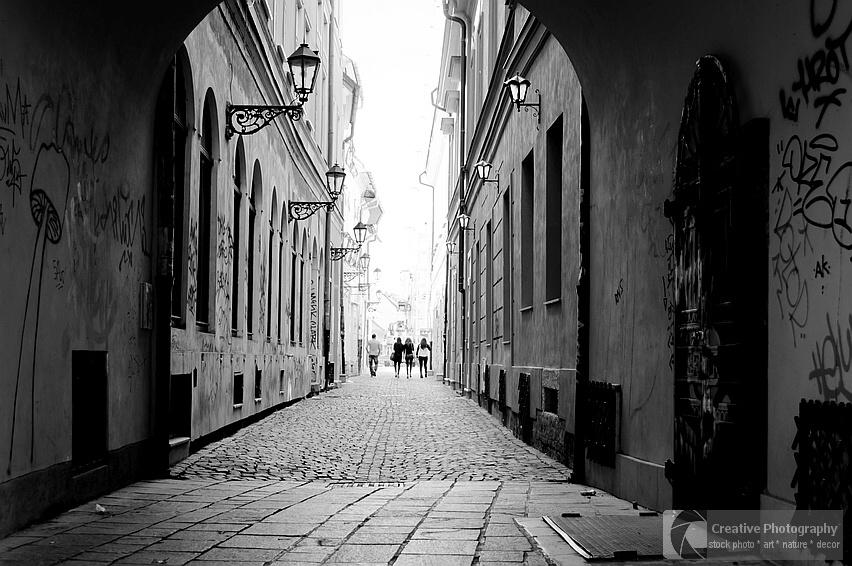 Black and white street photo from Kosice, Slovakia