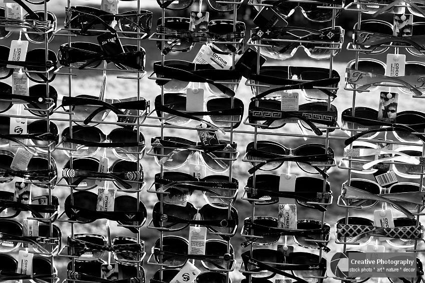 sunglasses, black and white photo